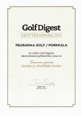 Porkkalan saamaGolf Digest kenttäranking 2011 -kunniakirja